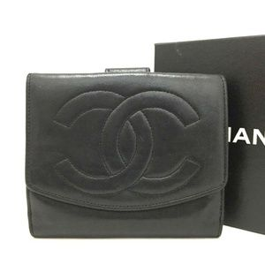Auth Chanel Cc Logo Black Lambskin #1455C82